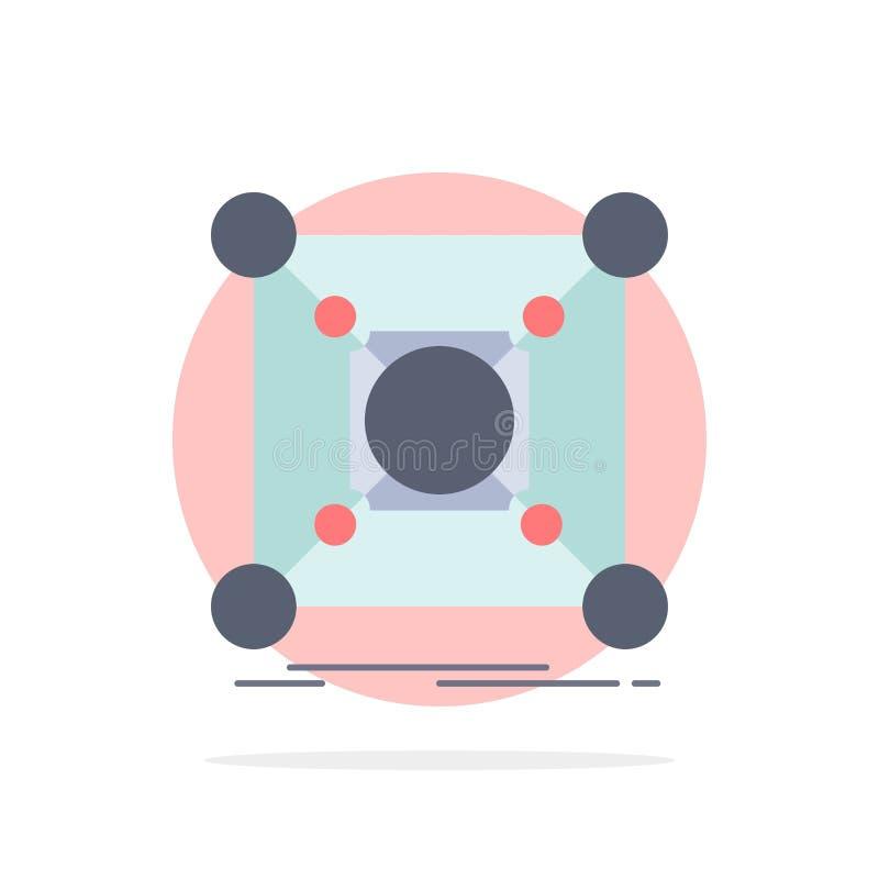 Основание, центр, соединение, данные, вектор значка цвета эпицентра деятельности плоский иллюстрация штока