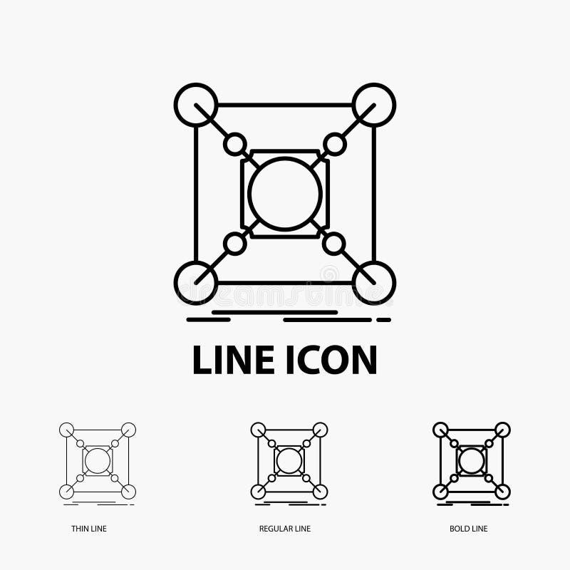 Основание, центр, соединение, данные, значок эпицентра деятельности в тонкой, регулярной и смелой линии стиле r иллюстрация вектора