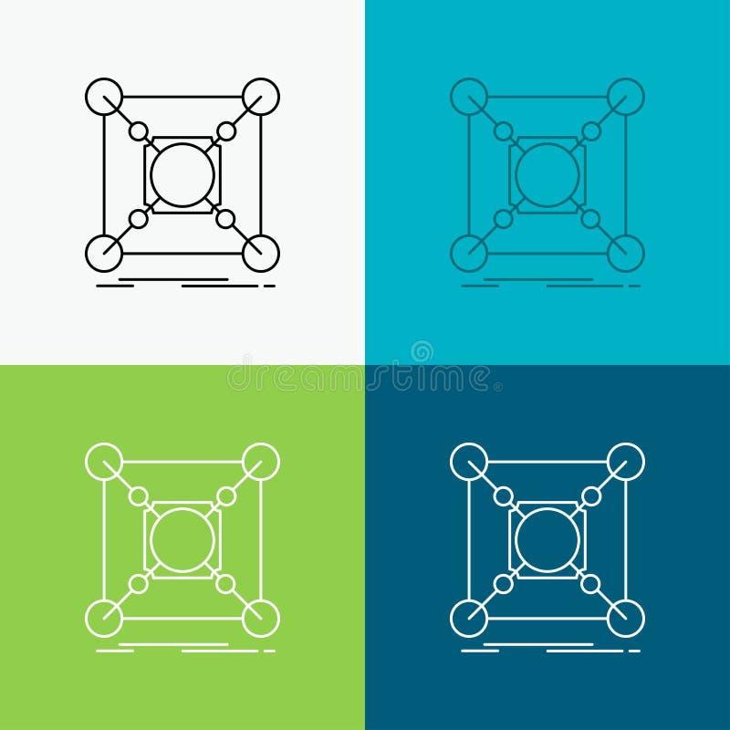 Основание, центр, соединение, данные, значок эпицентра деятельности над различной предпосылкой r r иллюстрация вектора