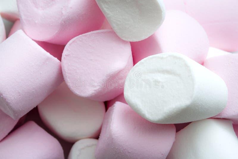 основанная на Сахар кондитерская и сладкая концепция конфеты с крупным планом макроса на зефирах пинка и белых пушистых с космосо стоковые изображения rf