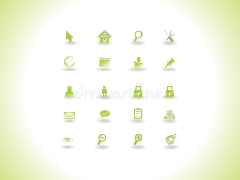 основанная сеть иконы зеленого цвета eco установленная бесплатная иллюстрация