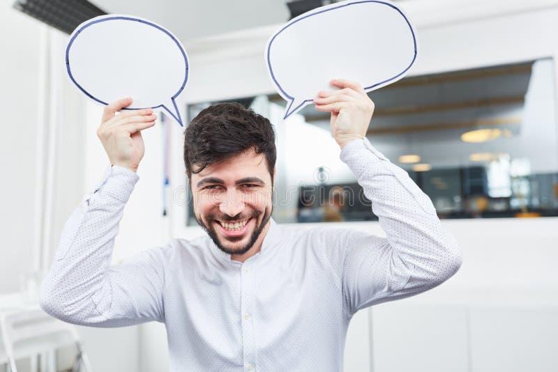Основатель с пузырями речи творческих способностей стоковое фото rf