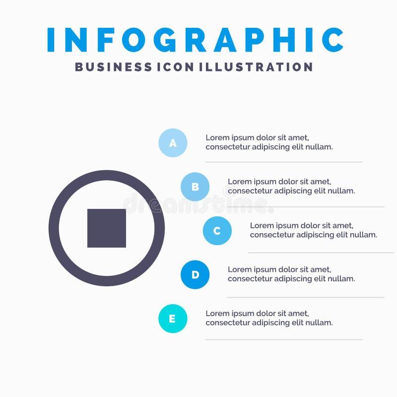 Основной, интерфейс, предпосылка представления шагов Infographics 5 значка потребителя твердая иллюстрация вектора