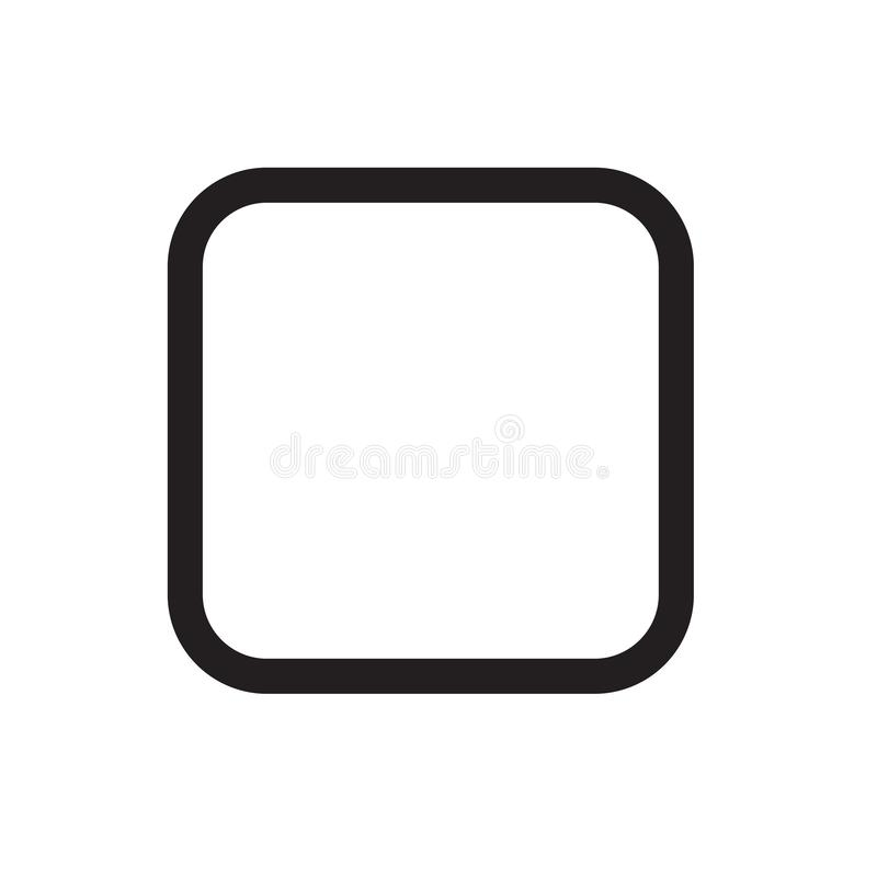 Основной квадратные знак и символ вектора значка изолированные на белом backg иллюстрация штока