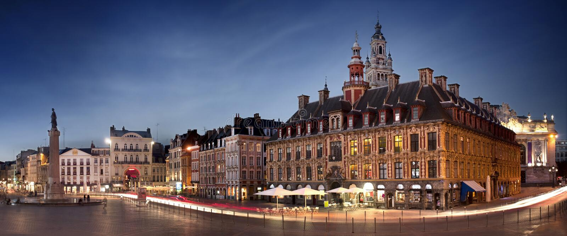 Основной квадрат Лиля, Франции стоковые изображения rf
