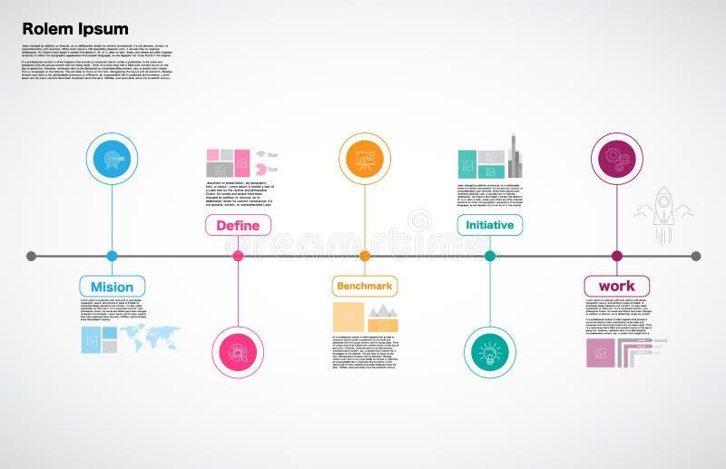Основной этап работ Компания, вектор Infographic, шаблон дизайна дорожной карты, иллюстрация штока