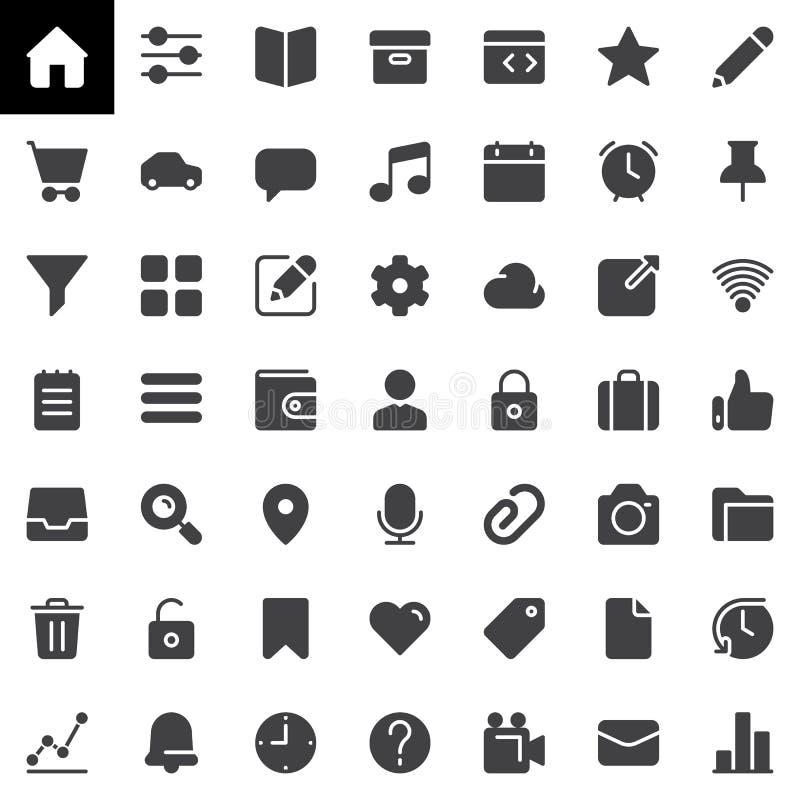 Основные значки вектора UI установили, современное твердое собрание символа бесплатная иллюстрация