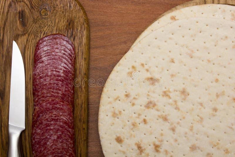 Основные продукты для пиццы стоковые изображения
