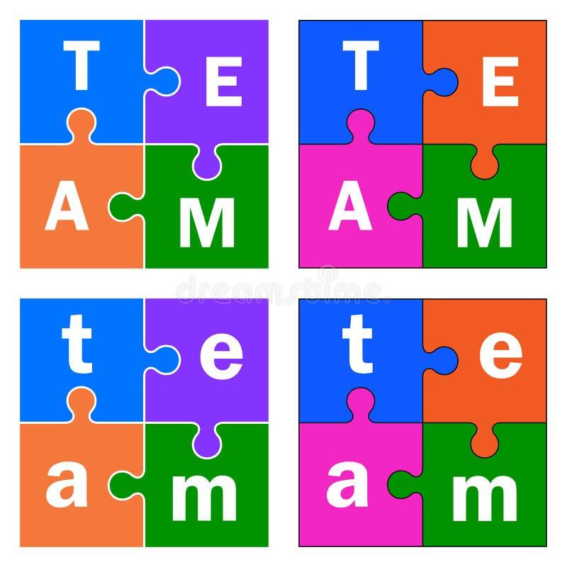Основные части головоломки с знаком текста команды иллюстрация штока