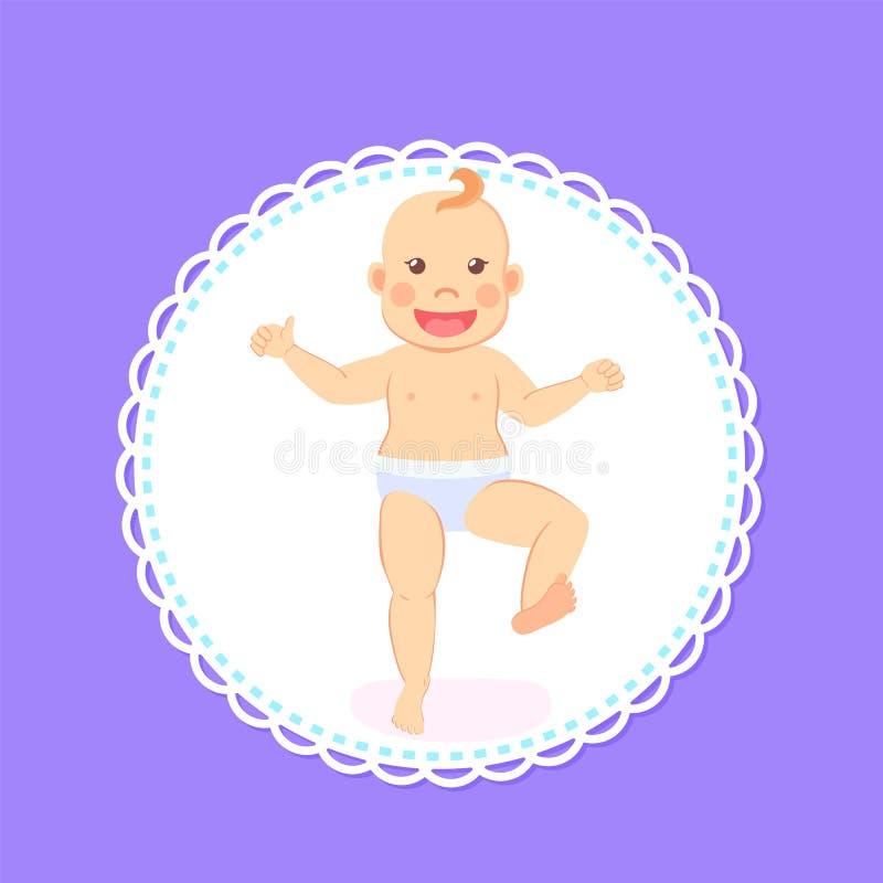 Основные этапы работ младенца, период от 1 до 12 месяца Newborn иллюстрация штока