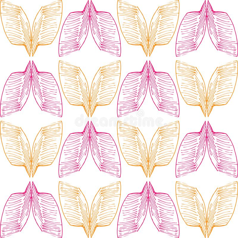 Аbstract orange and pink wings pattern on seamless background. Аbstract orange and pink wings, buuterfly pattern on seamless background royalty free illustration