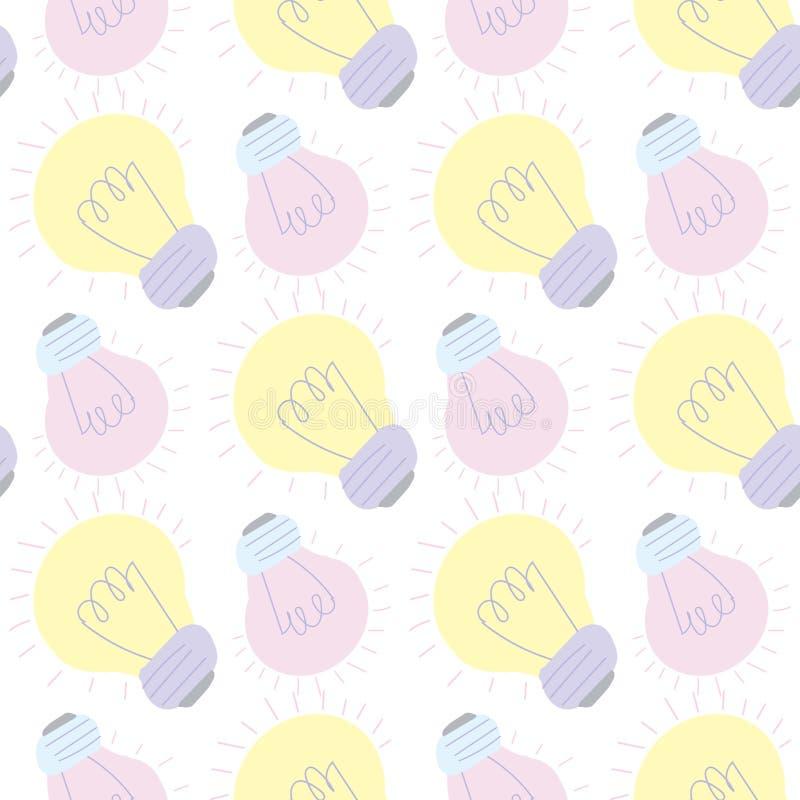 Cartoon colored light bulbs stock illustration