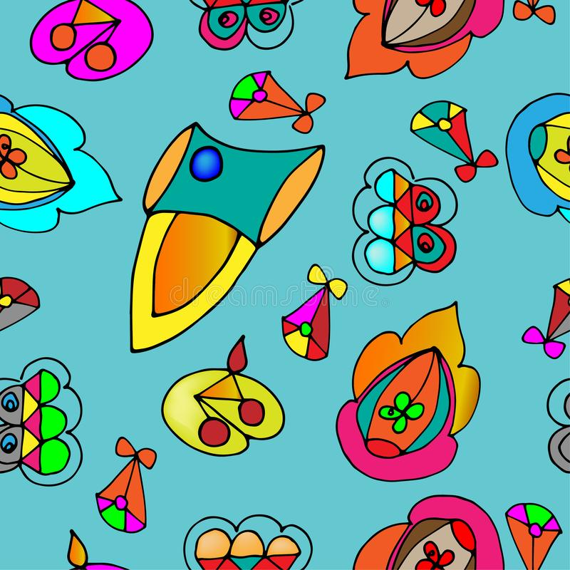 Seamless background with different flying elements stock image