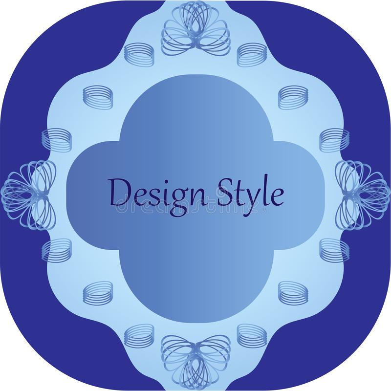 Patterned frame with twisted elements in blue tones stock image
