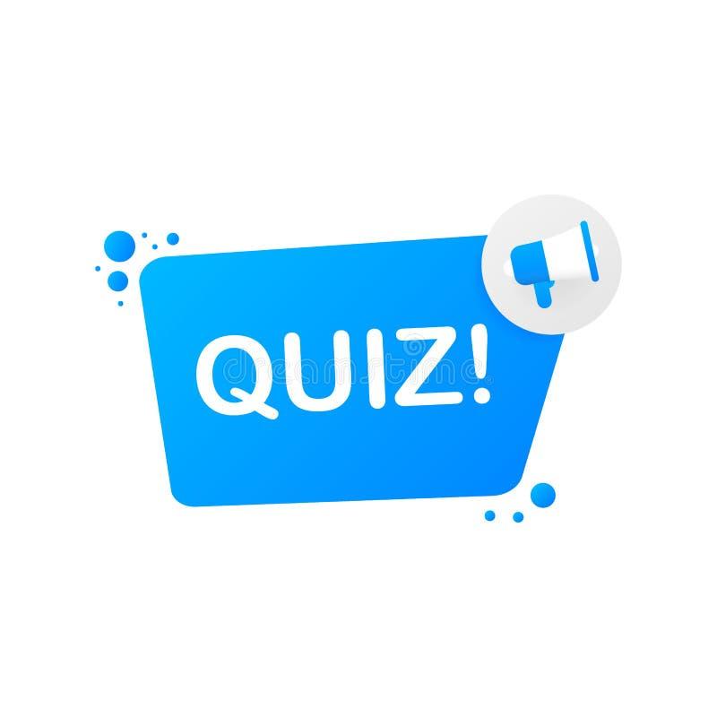 Hand holding megaphone - Quiz. Vector illustration. royalty free illustration