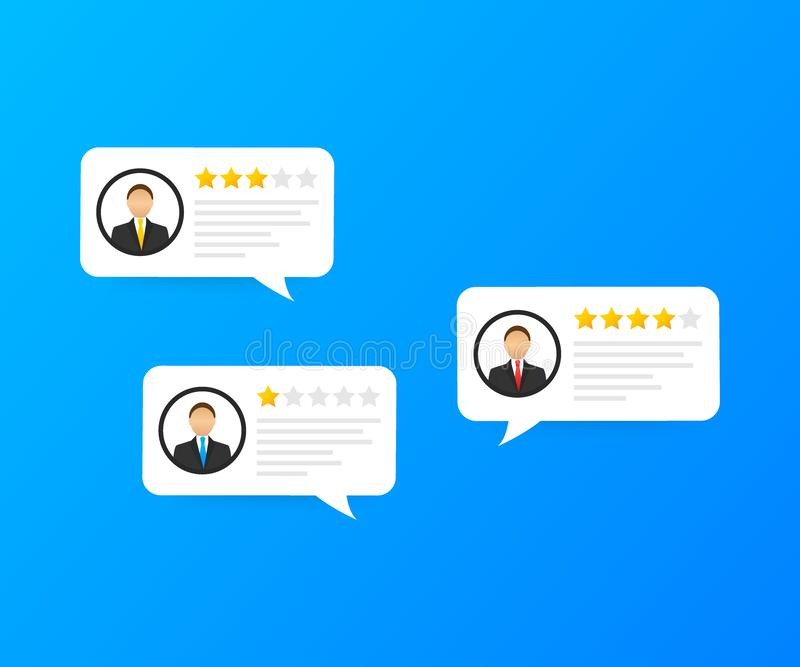 Review rating bubble speeches, reviews stars with good and bad rate and text, concept of testimonial messages. Vector stock illustration vector illustration