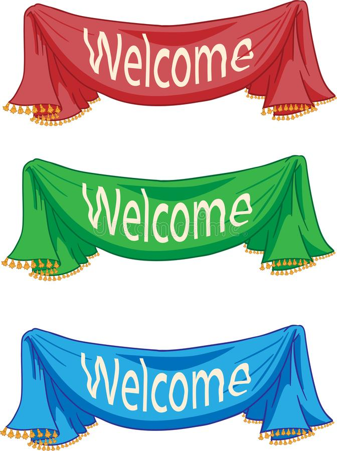Red, green, blue curtains with the word Welcome on white background. – stock illustration vector illustration