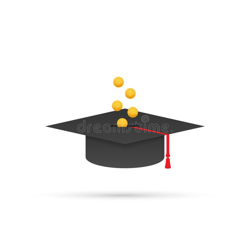 Investment in education. Scholarship. Books. Graduate`s cap on stack golden coin. Vector illustration. vector illustration