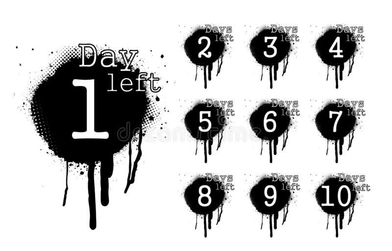 Number days left, countdown in dirty spray style vector illustration