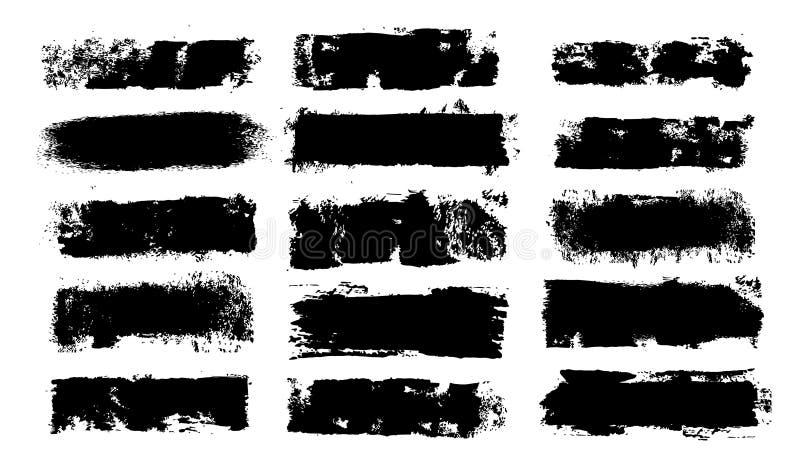 Grunge Paint Roller. Vector brush Stroke. Distressed banner. Black stripes isolated. paintbrush collection. Modern Textured shape. Dry border in Black. Bulge vector illustration