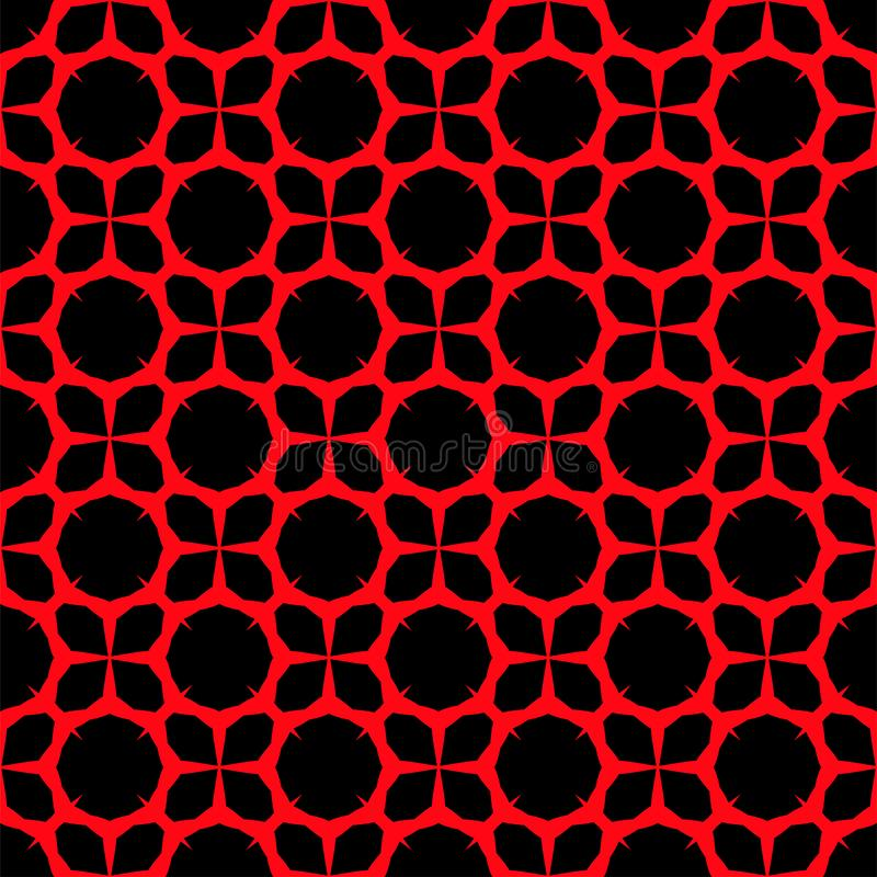 Red pattern on black background. Seamless pattern. Abstract. stock illustration