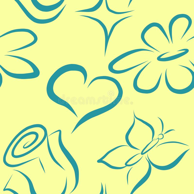 Vector seamless pattern with flowers and heart royalty free illustration