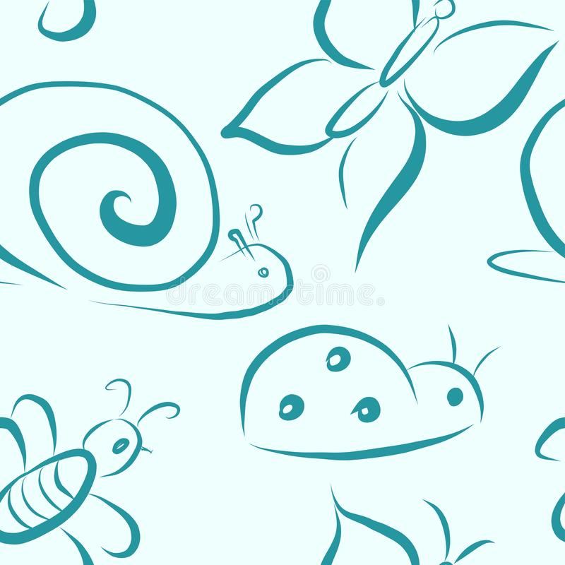 Vector seamless pattern with insects stock illustration