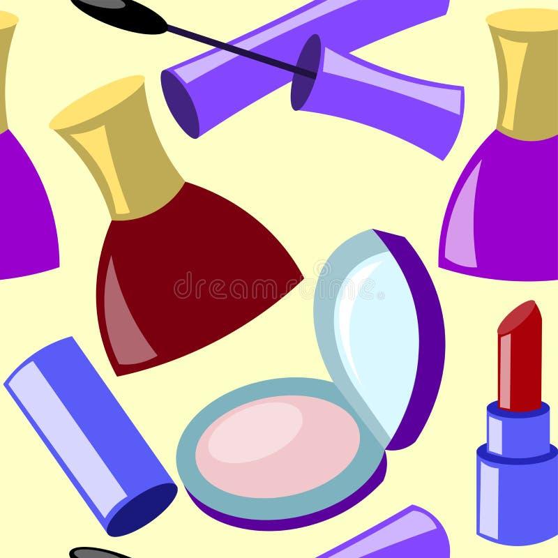 Seamless pattern of cosmetics royalty free illustration