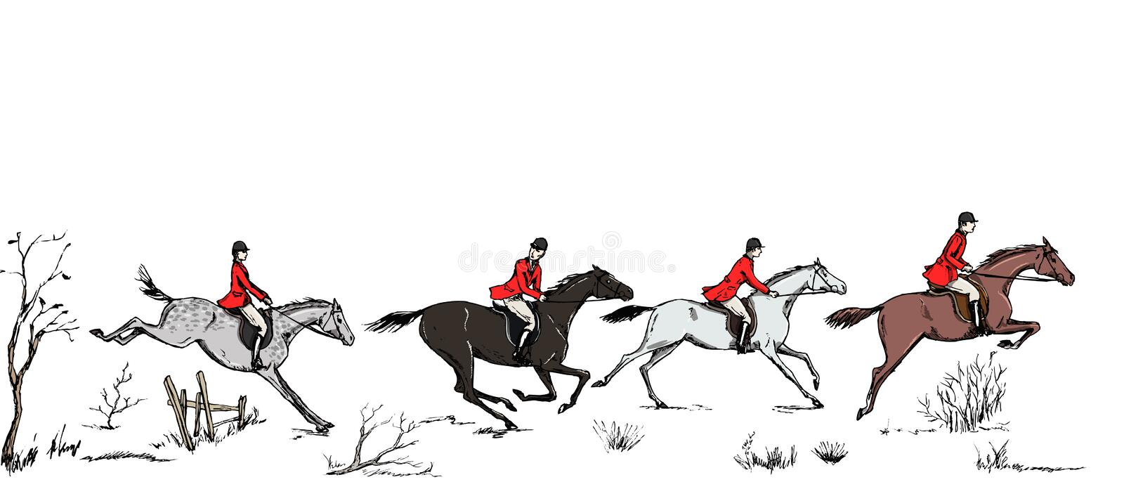 Equestrian sport fox hunting with horse riders english style in red jacket on landscape. England steeplechase tradition frame, header banner or border. Hand stock illustration