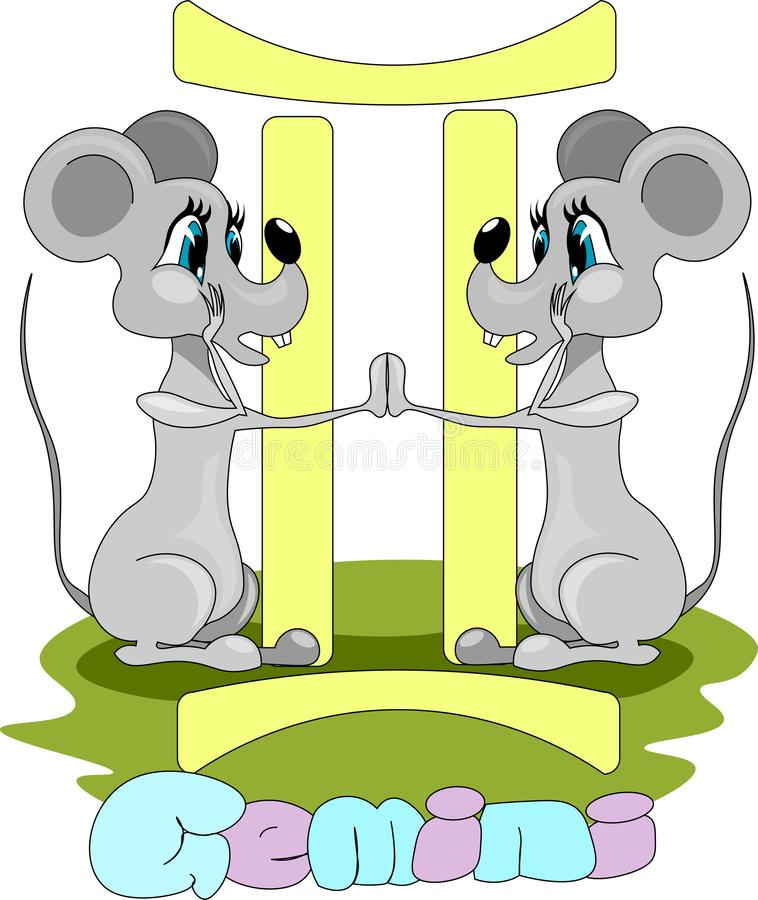 Two rats twins and symbol of Gemini vector illustration