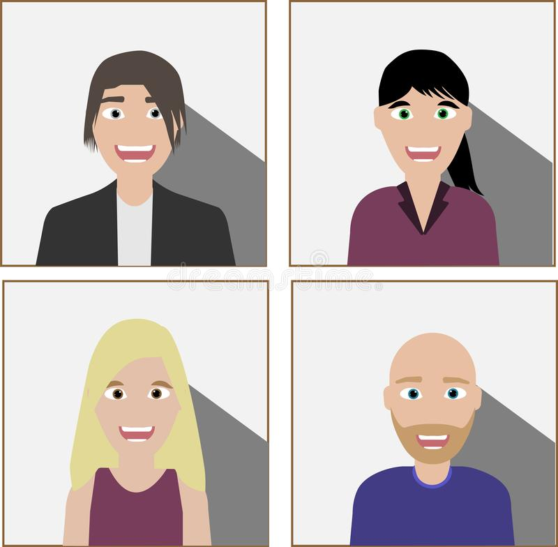 Set of diverse business people royalty free illustration