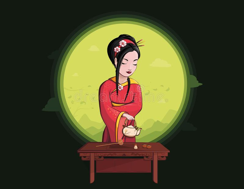 Vector art of Beautiful japanese girl. Tea ceremony. With different tea appliance. Asian culture in bright color and flat style. Asian women with green tea in royalty free illustration