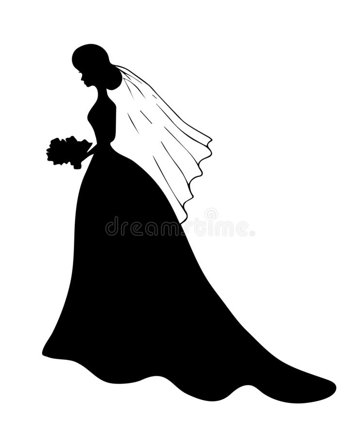 Black silhouette of young girl in wedding long dress with train standing with veil and with bouquet. In her hands. she stands in profile. Beautiful woman icon stock illustration