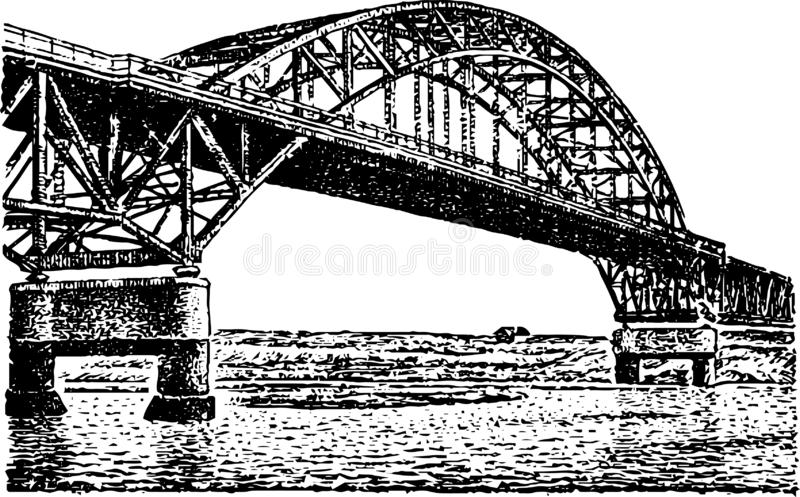 Big bridge over the river in the form of a rainbow drawn royalty free illustration