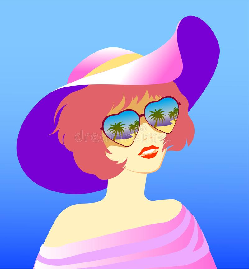 The girl in the hat and glasses royalty free illustration
