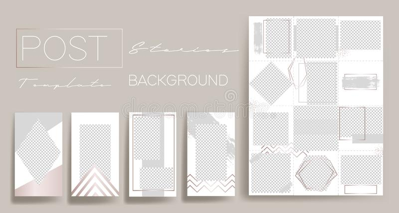 Design backgrounds for social media banner.Set of instagram stories post frame templates.Vector cover. Mockup for personal blog o stock illustration
