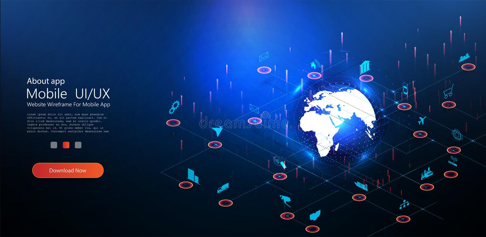 Planet earth continent internet of things stock illustration