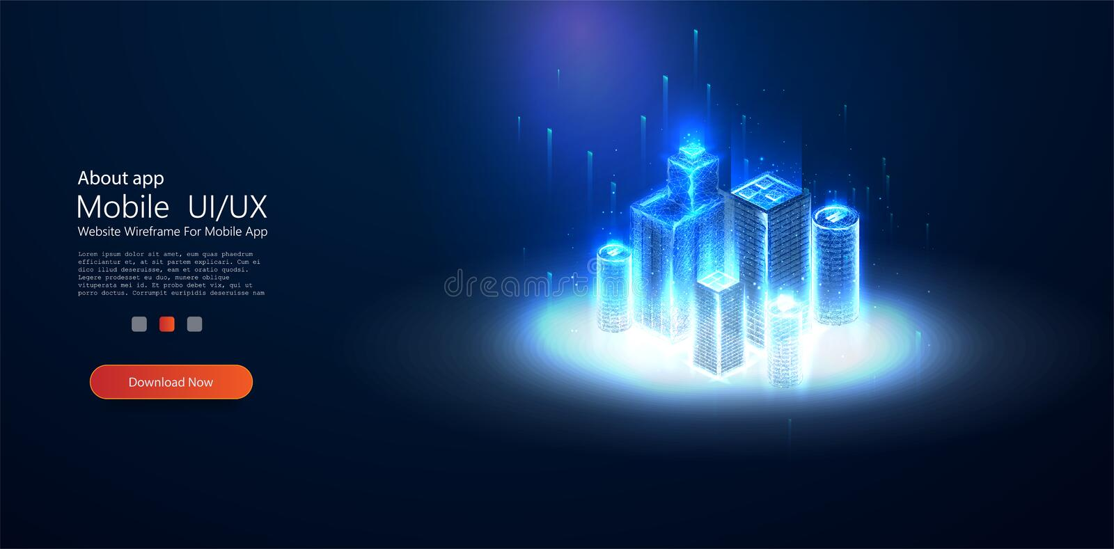 Low poly smart city wireframe. Sparkle stardust. vector illustration