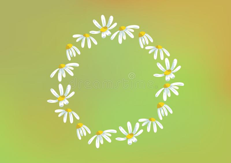 Vector round frame of chamomiles in the colorful background vector illustration