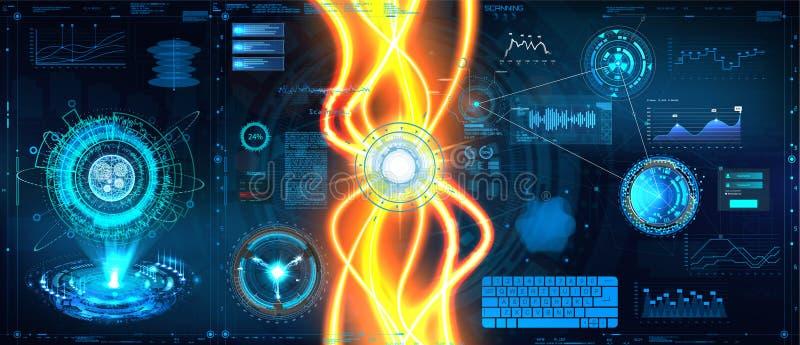 Data flow analysis. Energy flow, Big data algorithms visualization, technologies infographic analytic in HUD style. Futuristic interface. Statistics big data royalty free illustration