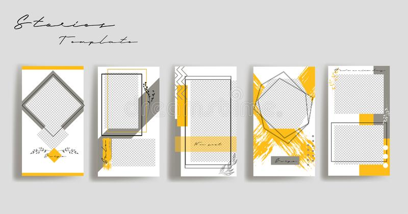 Design backgrounds for social media banner.Set of instagram stories frame templates.Vector cover. royalty free illustration