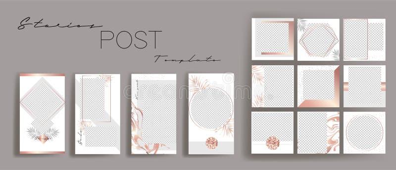 Design backgrounds for social media banner.Set of instagram stories and post frame templates.Vector stories cover. royalty free illustration