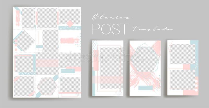 Design backgrounds for social media banner.Set of instagram stories and post frame templates.Vector cover. stock illustration