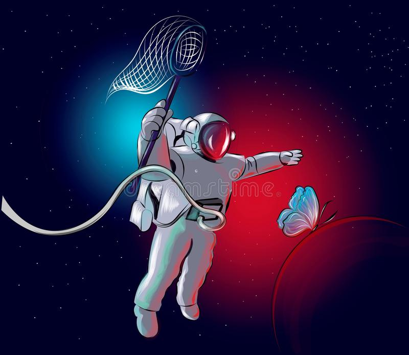 Cosmonaut is chasing a butterfly. stock illustration