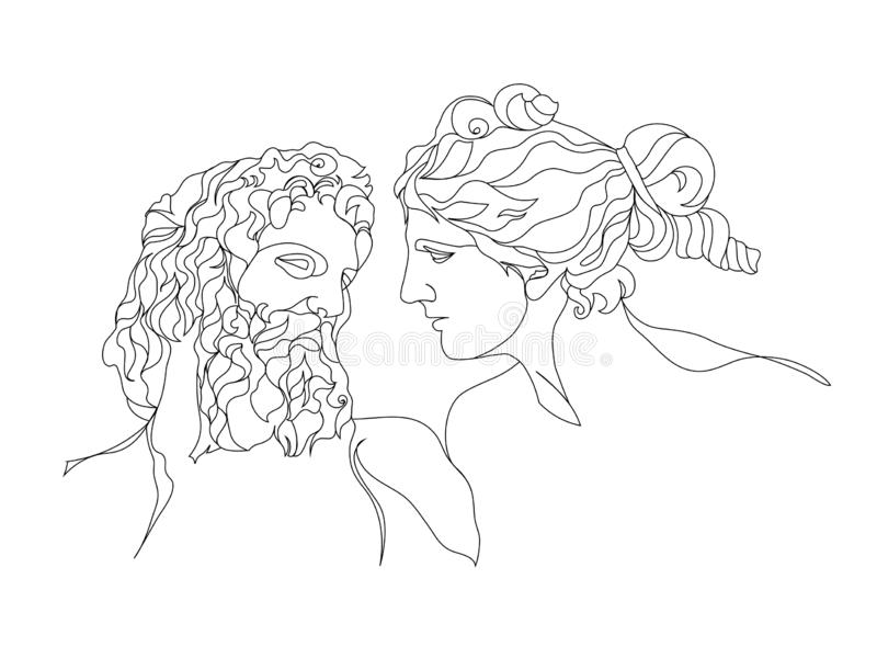 One line drawing sketch. Couple sculpture. Modern single line art, aesthetic contour. Perfect for decor royalty free illustration