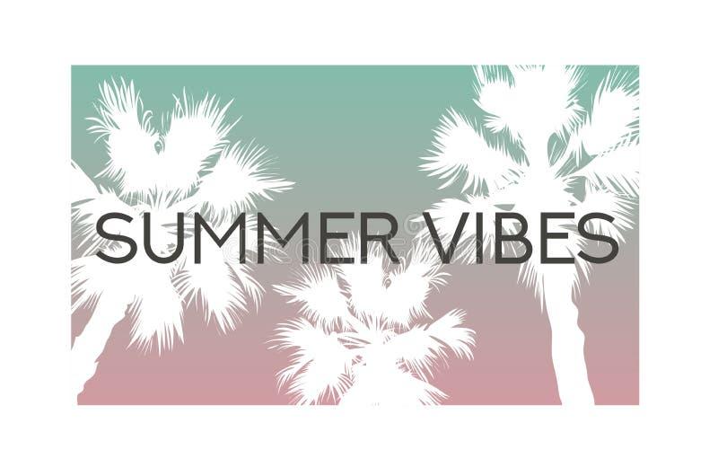 Summer vibes slogan palm trees illustration vector illustration
