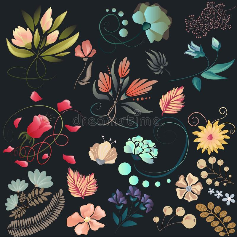Set of flowers in vector. Floral design in vintage colors. royalty free stock image