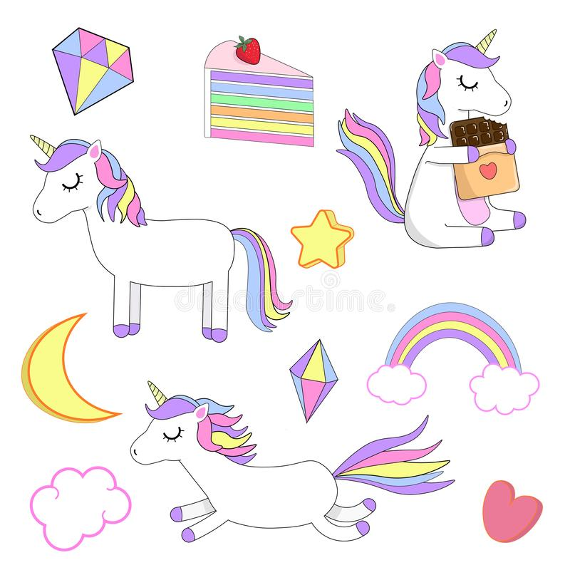 Colorful, vector set with unicorns. White background. Vector illustration. Beautiful, colorful set with unicorns, cakes, crystals, rainbow, cloud, heart and vector illustration
