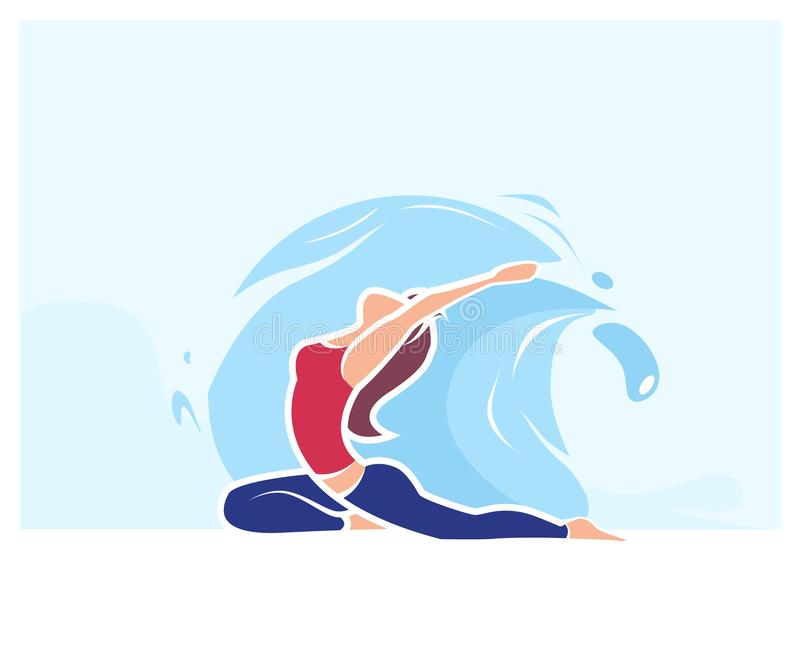 Cartoon Woman in Asana Position. Yoga Exercise Practice Outdoors Vector Illustration. Summer Nature Water Harmony. Body Care. Illustration about internal energy vector illustration