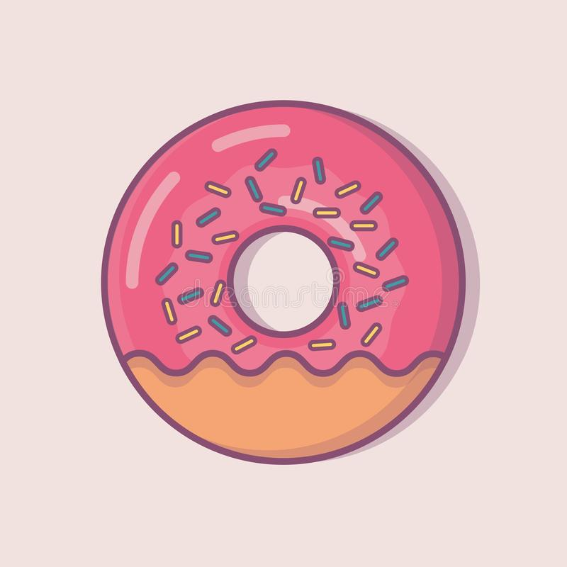 Cartoon Donut with Pink Glaze. Vector Illustration. Donut Icon. stock image